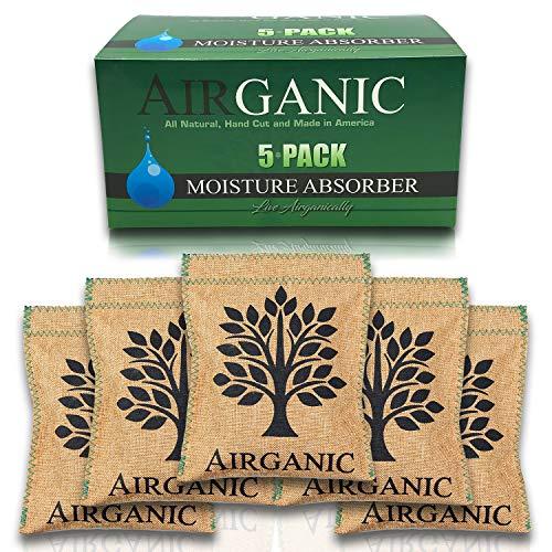 Airganic Mini Dehumidifier Bag from Natural USA Minerals & Plants (5 Pack) for Safe, Closet, Car, Gun Safe - Kid & Pet Friendly Lifetime Mini Reusable Moisture Absorbers for Home, Bathroom, RV