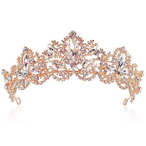 ikasus Tiara de princesa para novia, corona de cristal, estrs, boda, novia, reina, corona de cumpleaos, tiara para boda, desfiles, fiesta, accesorios de disfraz, oro rosa