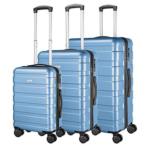 AMASAVA 4 Rollen Hartschale Koffer Set Handgepäck Rollkoffer Trolley Reisekoffer mit TSA-Schloss ABS+PC Zwillingsrollen Hartschalentrolley Taschen Gepäck...