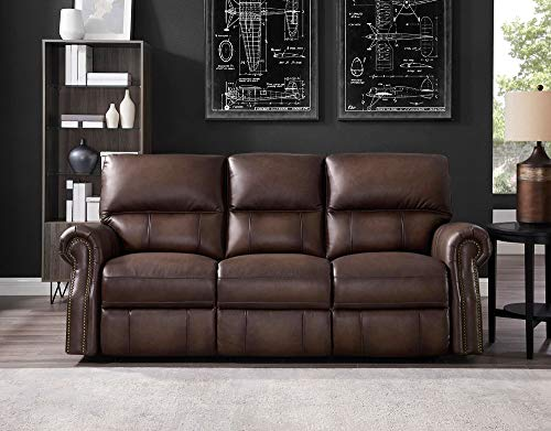 Hydeline Raymond Power Leather Reclining Sofa Couch, Brown
