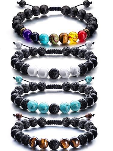 Adjustable Lava Rock Stone Essential Oil Diffuser Bracelet Braided Rope Stone Yoga Beads Bracelets for Men Women (Style E)