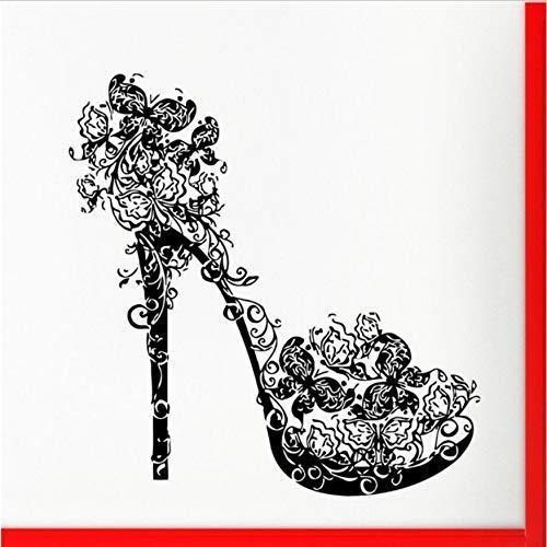 Etiqueta De La Pared Tacones Altos Zapato De Pared Mariposas Remolinos Flor Moda Hogar Arte De La Pared Dormitorio Mural Salón De Belleza Decoración 57X59Cm