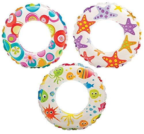 Intex - Recreation Lively Print Swim Ring, Summer Fun (Pack of 2 Assorted)