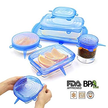 NEWBEA Silicone Stretch Lids,12-Pack Various Sizes ,Reusable, Durable Expandable to Fit Various Size Shape Containers As Seen On TV,Keeping Food Fresh, Dishwasher Freeze