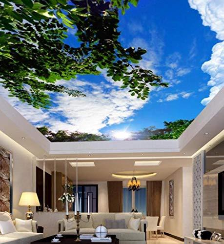 Fototapeten Weiße Wolken Grüne Blätter Deckengemälde Tapete Wohnzimmer Vliestapete 3D Decke Heimwerker-350 * 245cm