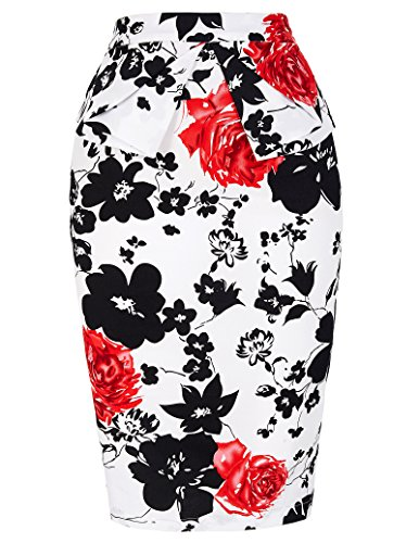 Floral Pencil Skirt for Women Knee Length Wear to Work (S) KL-7 CL8928