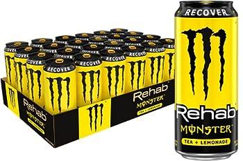 Monster Rehab Tea + Lemonade + Energy Energy Iced Tea 15.5 Ounce  Pack of 24