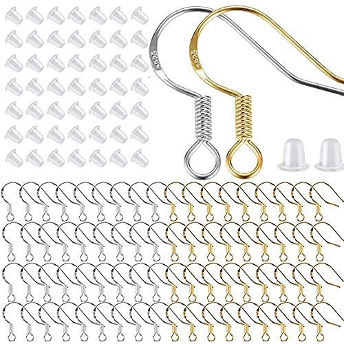 DealMux 400 piezas / 200 pares de ganchos para pendientes de plata y oro, ganchos para pendientes de peces hipoalergénicos, ganchos para la oreja para hacer joyas, bricolaje