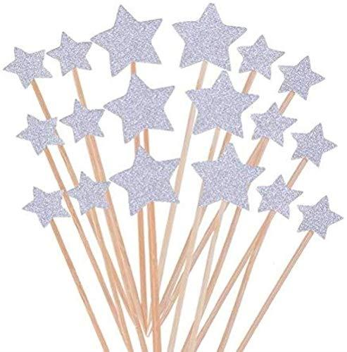 Cake Decorating Toppers,50 Pack Estrellas para Decoración Decoración para Pasteles Decorativos para Tartas Cupcake Toppers para Bodas Cumpleaños Partes Plata 9.2CM