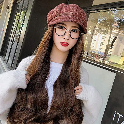 Sombrero Mujeres Gorro De Invierno Peluca Sombrero Todo En Uno Wave Roll-Top Set Fashion con Peluca Boina Vintage
