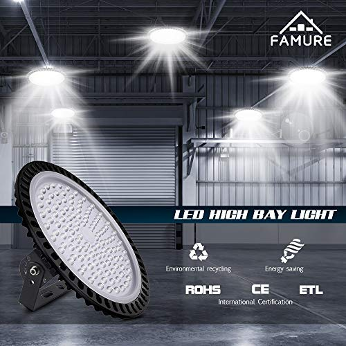 UFO LED High Bay Light, 6000-6500K, IP54, Waterproof Dust Proof, Warehouse LED Lights High Bay Lighting for Garage, Factory, Gymnasium, Basement, Parking(Newest Design )… (500W-10pack) 7