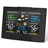 Geevon Weather Station Wireless Indoor Outdoor Thermometer, Color Display Digital Hygrometer, Forecast Station with Temperature Alert, Comfort Level, Barometer, Alarm Clock Easy to Set Diamond Base