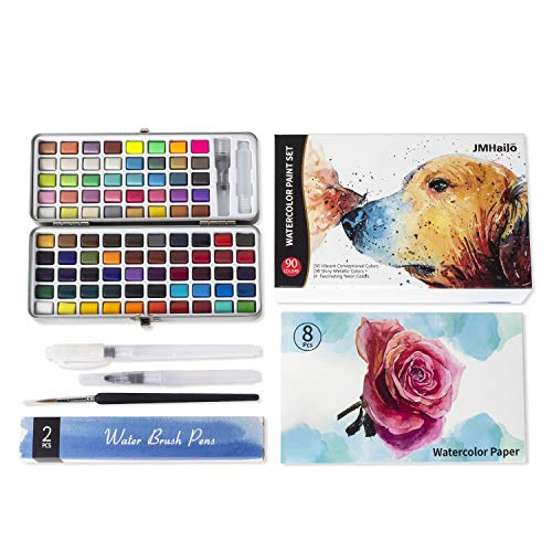 90 Colors Watercolor Paint Set- 50 Vibrant Colors 36 Glitter Metallic Colors 4 Neon Colors -3 Water Brush Pens-1 Detail Paint Brush - 8 pcs 300G Watercolor Papers-in a Great Gift Box