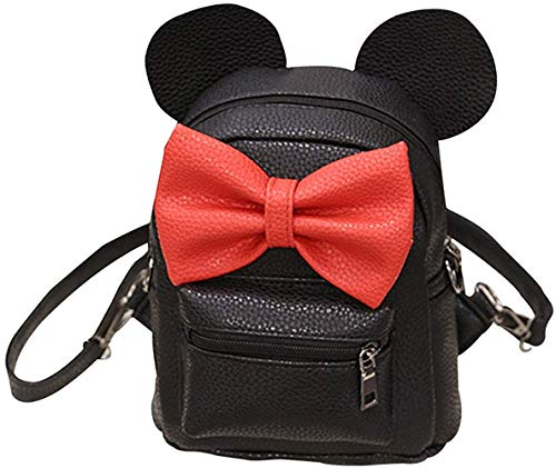 Bizarre Vogue Cute Small College Bag Bow Style Backpack for Girls (Black,BV1217)