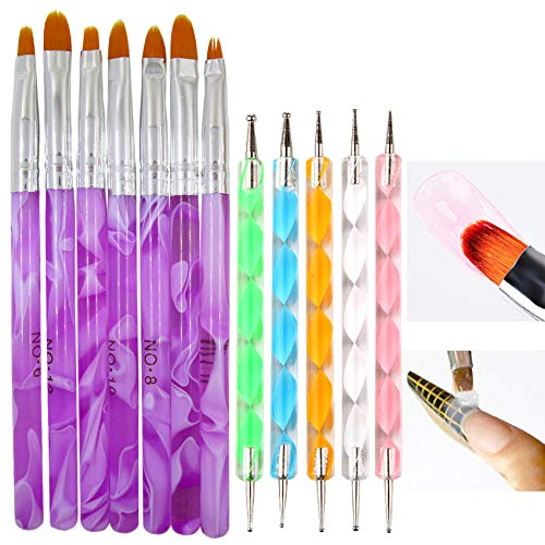 7pc UV Gel Nail Extension Brushes Set Tools Acrylic Nail Tips Builder Painting Drawing Brush Pen Manicure Fingernails Designs Supplies
