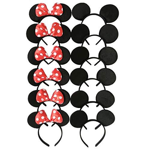 Carnavalife Pack 12 Diademas de Orejas de Mouse Ratón Minnie y Mickey con Puntos Blancos, Fiestas de disfraz para Cosplay, Accesorios de DIY para Cumpleaños (RHP-15*6 + RHP-14*6)