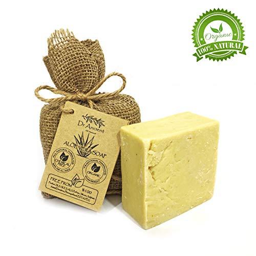 Orgánico natural vegano tradicional hecho a mano antiguo aloe vera barra de jabón - Eficaz para la quemadura solar y la irritación de la piel - Ningunos productos químicos, jabones puros naturales!