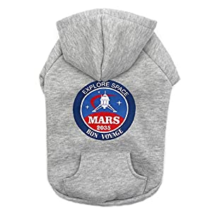 kyeese Dog Hoodies Sweater Gray for Medium Dogs with Hat and Pocket Windproof Pet Coats