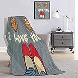 I Love You - Manta infantil y pies de mujer para parejas, diseño de San Valentín y romance Flirt gráfico ligero, suave, cálido y cómodo, ancho 54 x largo 72 pulgadas, multicolor
