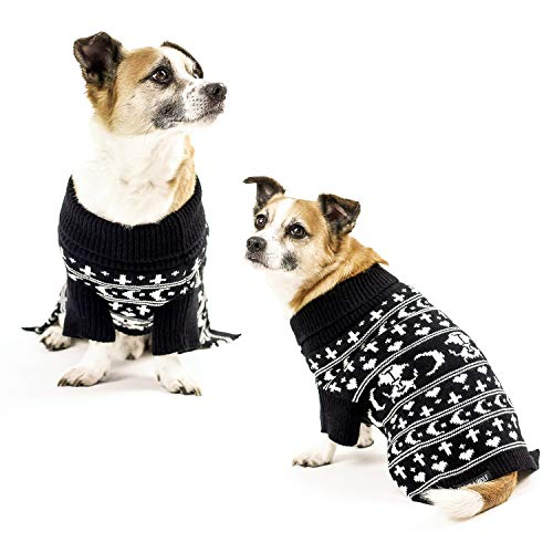 Dog Clothes Sweater Accessories for Small Medium Large Dogs Knitted Shirt Vest Pajamas Shirts Sweaters Clothing Outfit for Boy & Girl Puppy Pet Supplies (Sworn Enemy, L)