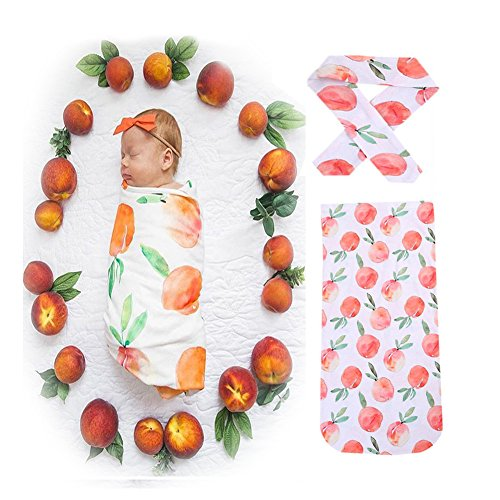 Velidy Baby-Schlafsäcke mit Stirnband 100% kuschelweicher Baumwolle | Babyschlafsack Kinder-Schlafsack, Baby-Decke, Baby-Fußsack, Swaddle, Puck-Sack (Schlafsäcke+ Stirnband (Frucht))