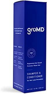 GroMD Hair Growth and Hair Loss Prevention Shampoo & Conditioner, Doctor-Developed Proprietary Blend of DHT Blockers, Caffeine, Argan Oil, Biotin & Niacin, Daily Use for All Hair Types, Men and Women