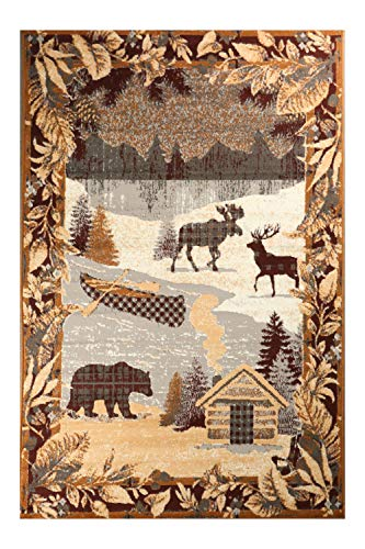 Furnish My Place Cabin Rug - 5 ft. x 8 ft, Multicolor, Polypropylene Lodge Rug with Mountain, Deer, Snow Print