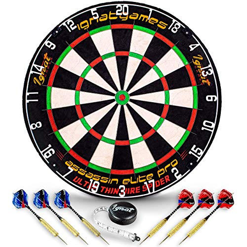 Professional Dart Board Set - Bristle/Sisal Tournament Dartboard with Complete Staple-Free Ultra Thin Wire Spider + 6 Steel Tip Darts + Darts Measuring Tape + Darts Guide (Assassin Elite Pro)