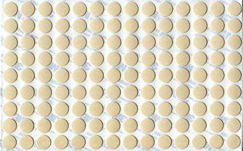 KwikCaps® PVC Magnolie Selbstklebende Schrauben-Abdeckungen Abdeckkappen Nägel Cam flach [126 Stk. x 13 mm Durchmesser]