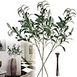 Artificial Plants Greenery Olive Branches Stems Fake Plants Green Leaves Fruits Branch Leaves for Home Office ndoor Outside DIY-Wreath Decor 28-Inch (3pcs)