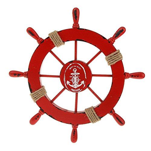 LIOOBO Steuerrad mit Anker Schiffssteuerrad Holz Wanddeko Maritime Deko Vintage Steuerrad Deko 28CM (Rot)