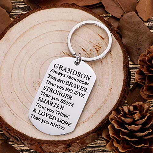best gifts under 25 stocking stuffers and more Grandson Keychain Christmas Gifts Inspirational Stocking Stuffers for Grandson him from grandma grandpa to Grand kids Teen Adult Men Teenage Boys Vanlentine Birthday Gradation Wedding Gifts Presents