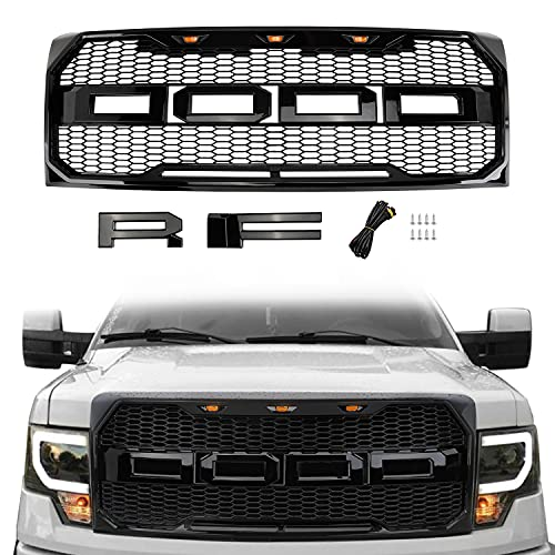 Front Grill Replacement for F150 2009-2014 with Amber LED Lights, Raptor Style Grille (Gloss)