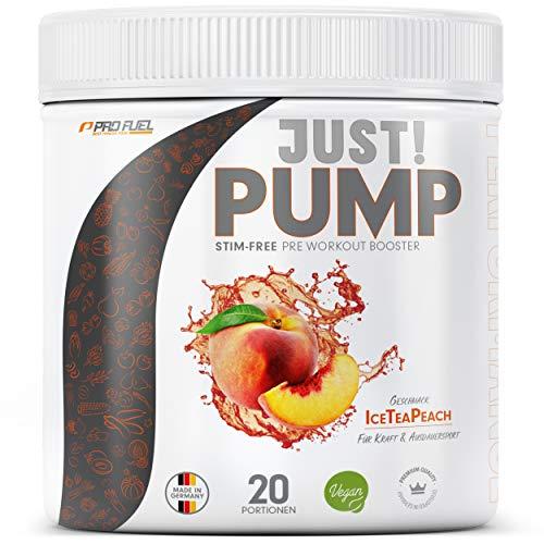 Pump Booster ohne Koffein mit innovativer Formel aus Aminosäuren und Pflanzenextrakten – Pre Workout Booster 400g - ICE TEA PEACH