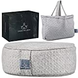 """Unique Wellness Buckwheat Meditation Cushion (17""""x13""""6""""), Meditation Pillows for Sitting On Floor, Yoga Cushion for Women and Men, Tote Bag for Travel, Lavender Scented, Machine Washable"""