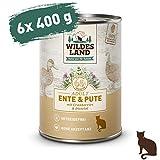 Wildes Land | Nassfutter für Katzen | Nr. 5 Ente & Pute | 6 x 400 g | Getreidefrei | Extra viel...
