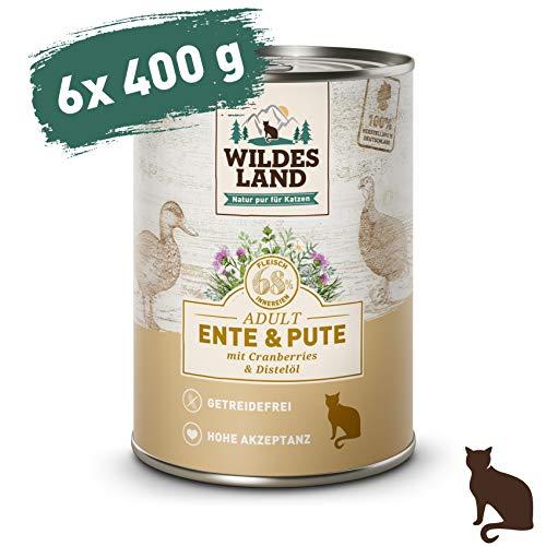 Wildes Land | Nassfutter für Katzen | Nr. 5 Ente & Pute | 6 x 400 g | Getreidefrei | Extra viel Fleisch | Beste Akzeptanz und Verträglichkeit