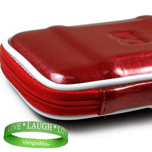 VG Garmin Nuvi GPS Size 4.3 RUBY RED Hard Shell Cube Garmin Carrying Case for All Garmin 1300 series 4.3 Models + Live Laugh Love Silicon Wrist Band!!!