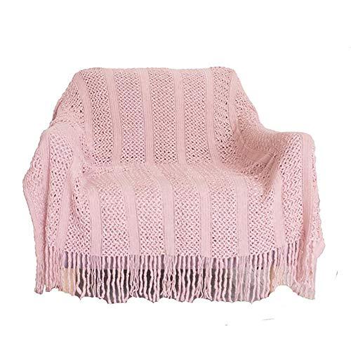 FUMT Manta De Punto con Tassels,Súper Suave Color Sólido Tirar Manta,Textured Acogedor Ligero Decorativo Tirar Manta,para La Cama Sofá-A 130 * 200cm
