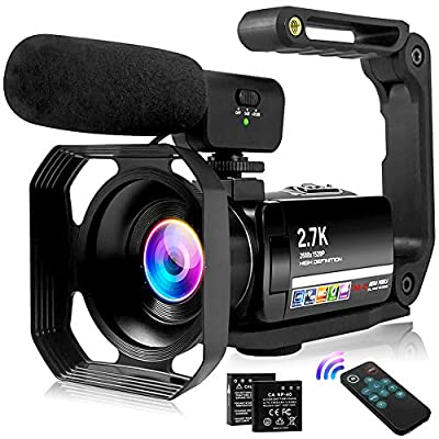 "Video Camera 2.7K Vlogging Camera for YouTube 30MP Camcorder with Foldable Handheld Stabilizer Camcorder Video Camera 3.0"" Touch Screen, Remote, Fill Light and Lens Hood by S & P Safe and Perfect"