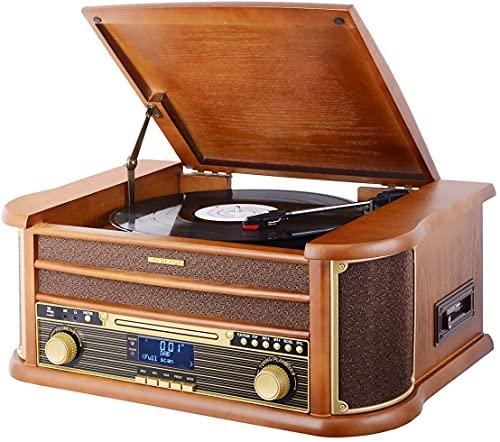 MUSITREND DAB-Plattenspieler Eingebaute Retro Stereo-Lautsprecher, Bluetooth Vintage Plattenspieler mit Nostalgic Music System 33/45/78 RMP, CD-Player, Kassetten-Player, USB-Eingang, Fernbedienung