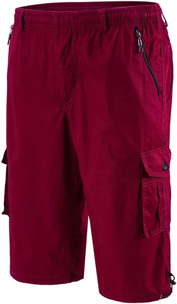 Gergeos Men Elastic Waist Summer Casual Shorts Multi Pocket Plus Size Cropped Pants Outdoor