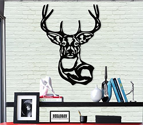 Décoration murale en métal - Tête de cerf - Silhouette murale 3D en métal - Décoration murale pour la maison, le bureau, la chambre à coucher, le salon - Sculpture 43 x 61 cm