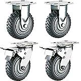 uyoyous 4 ruedas de 200 mm, capacidad de carga de 800 kg, ruedas industriales, ruedas giratorias con rodamiento de bolas de 360°, placa superior de policloruro antideslizante (2 frenos)
