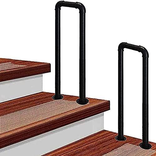 Pasamanos de escalera en forma de U, pasamanos de pasillo, barra de soporte negra, kit de barra de agarre antideslizante para personas mayores discapacitadas, pasamanos de escalera de hierro forjado