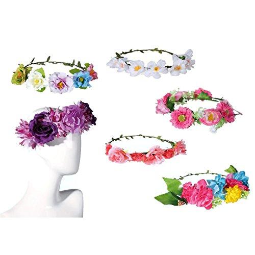 Bada Bing Blumenkranz Haarreif Hippie Blumenmädchen Blumen Haarschmuck Verkleiden Karneval (Modell 2)
