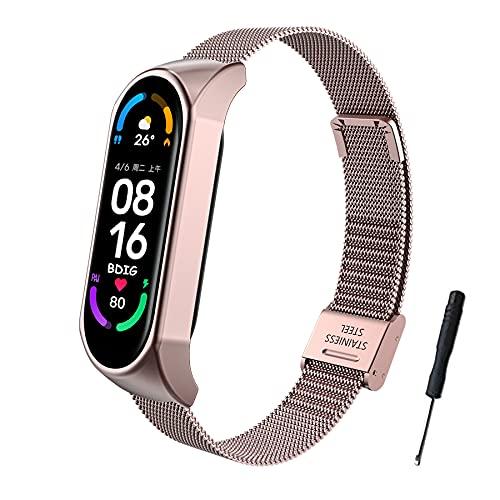 BDIG Für Xiaomi Mi Band 6 Armband Metall, Mi Band 5 Ersatzband Wasserdicht Edelstahl Strap Armband Zubehör für Xiaomi Mi Band 4/5/6 (Fitness Tracker Nicht Enthalten)