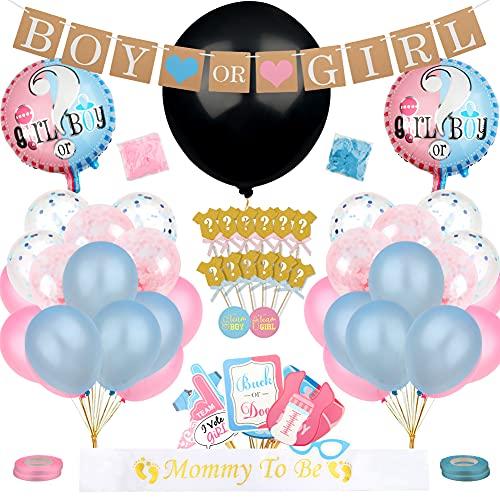 Yuccer 103 Pezzi Gender Reveal Party Baby Shower Decorazioni con Palloncino Banner di Ragazzo o Ragazza Puntelli Fotografici Adesivo Votante Mummy to be Fusciacca Coriandoli (Rosa e Blu)