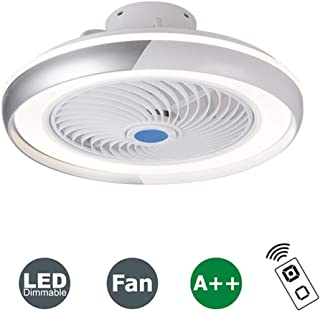 HKLY LED Invisible Ventilador de Techo con Luz y Mando a Distancia, Ventilador Silencioso Control Remoto Regulables Tiempo Lámpara de Techo para Sala de Estar Dormitorio Habitación Infantil 60W,Gris
