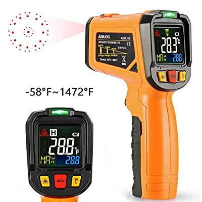 Infrared Thermometer AIDBUCKS -58°F to 1472°F Digital Laser Non Contact Cooking IR Temperature Gun with Color Display 12 Points Aperture for Kitchen Food Meat BBQ Automotive and Industrial